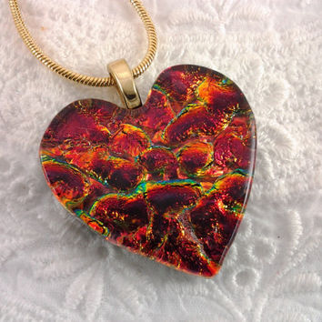 Dichroic Heart Pendant, Fused Glass Valentines Jewelry, Red Gold Dichroic Glass Pendant