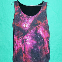 Women Style Pink galaxy tank top Sky Thin shirt Sleeveles teen Singlet ladies Galaxy Shirt Pink Cosmic Space Universe Tank Top Size M/L