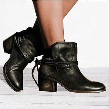 Round Toe Low Heel Ankle Boots