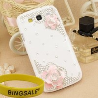 3d Bling Crystal Rhinestone Flower Case Cover Skin , Samsung Galaxy S3 Screen Protector Shield-Pink
