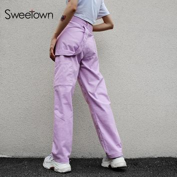 Sweetown Plus Size Pantalon Large Femme Cotton Harajuku Straight Long Pants Street Style High Waist Cargo Pants Women Streetwear