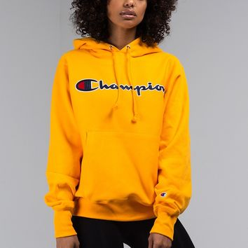Chamion Reverse Weave Signature Logo Hooded Sweatshirt in Gold