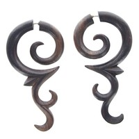 Tribal Shack Fake Gauge Earrings , Tribal Style Brown Sono Wood