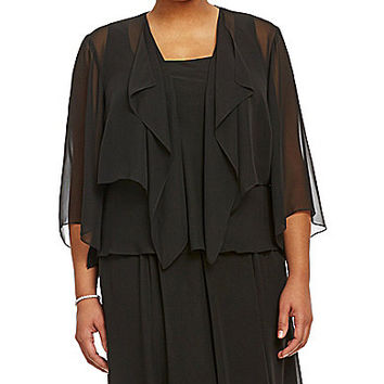 Alex Evenings Plus Bolero Jacket - Black