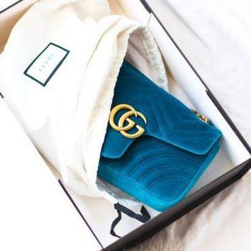 GUCCI Double G Women Shopping Leather Metal Chain Crossbody Satchel Shoulder Bag Blue