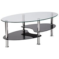 Hampden Coffee Table with Glass Shelves and Metal Legs
