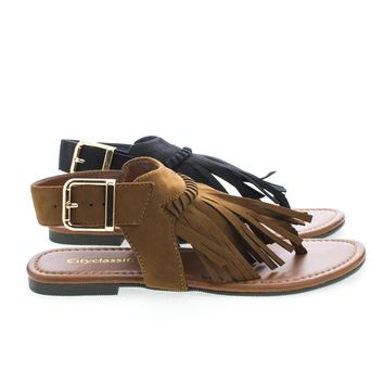 Shady Fringe Sling Back Buckle Thong Flat Sandals