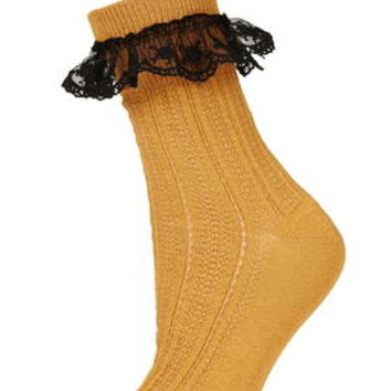Embroidered Trim Ankle Socks - Mustard