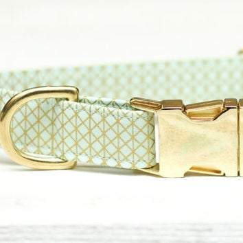 Mint and Gold Dog Collar,  Metallic Gold, Female Pet Collar with Metal Buckle