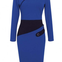 Voguish Colorblock Wear to Work Pencil Dress