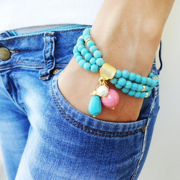 Turquoise ethnic bracelet desiged by natural beads great birthday gift pink mother jewelry pendant bracelets
