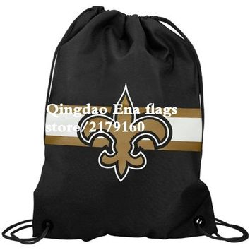 35*45cm knitted polyester New Orleans Saints backpack sports Flag Bag With Metal Grommets