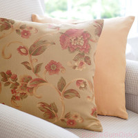 Floral Pillow Cover with golden honey tones 18 x 18