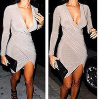 Sexy Women's Deep V Neck Bodycon Bandage Club Cocktail Party Evening Slim Dress = 1956700484