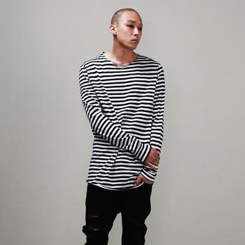 Striped Slub Cotton Raw Edge Long Tee