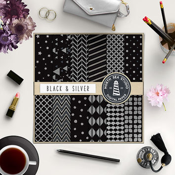 BUY5FOR8 Silver Digital Paper Silver And Black Paper  Silver Patterns Digital Scrapbooking 12 JPG 300 DPI Files Download