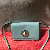 Kate Spade Light Blue Tiffany Newbury Diamond Leather Turnlock Shoulder Bag