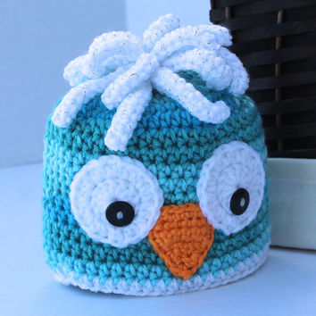 Crochet Animal Hat - Owl Hat - Teal - Newborn to 6 months