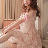 #14 Girls Kawaii Princess Cute Sweet Dolly Gothic Lolita Floral Chiffon Dress
