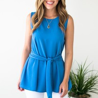 She's Got It All Sleeveless Tie Front Tank - Blue