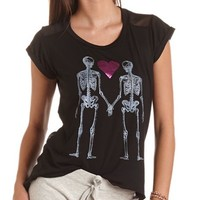 Skeleton Love Chiffon Back Tee: Charlotte Russe