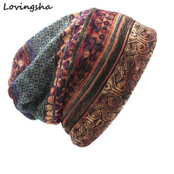 VONG2W LOVINGSHA Brand Autumn And Winter Dual-use  Vintage Design Hats For Ladies thin Skullies And Beanies Women Scarf Face Mask HT015