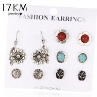 17KM 2017 Vinatge Rose Flower Stud Earring 6 Pairs/Set Pendientes Antique Stone Earrings Set For Women Jewelry boucle d'oreille