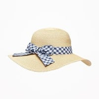Gingham Bow-Tie Straw Sun Hat for Toddler Girls|old-navy