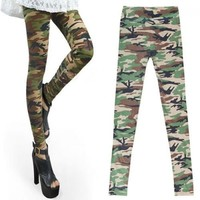 $7.99 Womens Camouflage Leggings Soft Stretch Army Green Trousers Autumn Winter Pants Leggings