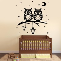 Wall Vinyl Decal Owl Night Tree Star Nursery Kids Room Decor Unique Gift z3798