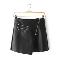 Black Faux Leather Mini A-line Skirt