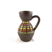 Raymor Style Italian Ceramic Pitcher Vase Mid Century Modern Brown Yellow Green Orange