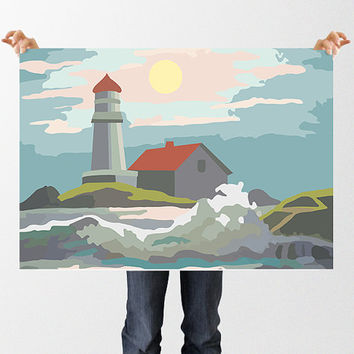 Seascape Paint by Numbers Illustration, Instant Download, Lighthouse Print, Printable Wall Art, Beach Print, Coastal Art, Retro Print, Sea