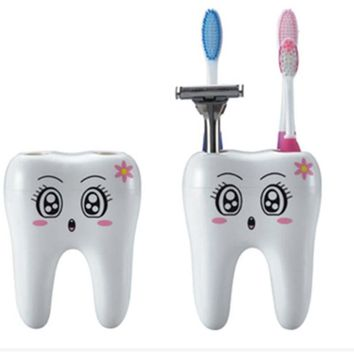 Cartoon Teeth Style Toothbrush Holder 4 Hole Stand Tooth Brush Shaving Razor Shelf Bracket Container Bathroom Accessories Sets