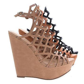Vivi35 Black By Breckelle's, Laser Cutout Bird Cage Platform Wedge Sandal