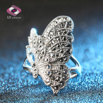 Unique Black CZ Diamond Butterfly Ring For Women Bohemia Style Plating Silver Vintage Animal Jewelry Can Be Paired