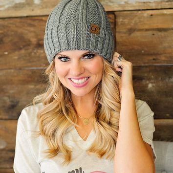* Fur Lined C.C. Cable Knit Pom Beanie - Grey