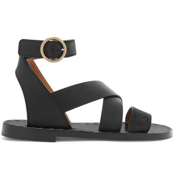 Chloé - Quinty suede and textured-leather sandals