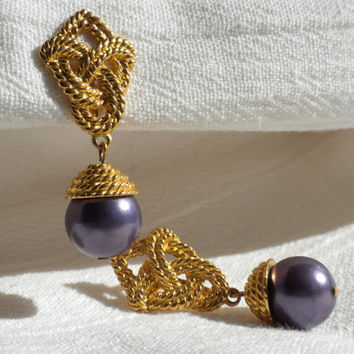 Purple Dangle Earrings Celtic Style Earring Goldtone Rope Earrings Bollywood Jewelry Faux Pearl Earrings Big Earrings Unknown Designer