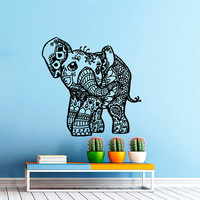 Wall Decal Vinyl Sticker Decals Art Home Decor Mural Indian Elephant Floral Patterns Mandala Ganesh Buddha Lotus Yoga Art Bedroom Dorm AN561