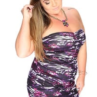 Sexy Violet Black Sweetheart Neckline Strapless Plus Size Dress