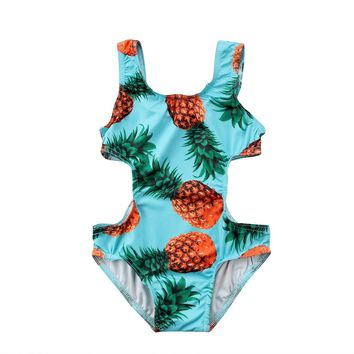 2018 Brand New Toddler Infant Baby Kid Girl Beach Swimsuit Swimwear Bikini Set Monokini Pineapple One Piece Bathing Suit 1-5T