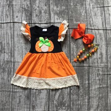 new arrival Halloween baby girls Fall dress pumpkin boutique cotton short sleeve dress children clothes match accessories kids