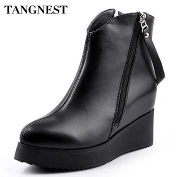 Tangnest 2018 Spring New Women's Ankle Boot PU Leather Increased Height Fashion Boots Pointed Toe Wedges Shoes For Women XWX2668