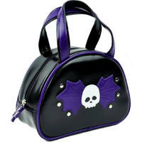 Black and Purple Bat Wing Skull Bowler Bag Purse