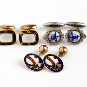 Vintage Silver or Brass Tone Men's Cufflinks - Enamel , Mother of Pearl, Holland Delft , Knight Cuff Ball Back or Pivot Link Costume Jewelry