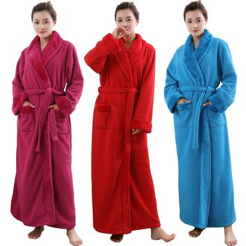 Women Men Extra Long Plus Size Thickening Fleece Thermal Bathrobe Winter Dressing Gown Warm Kimono Bath Robe Peignoir Sexy Robes