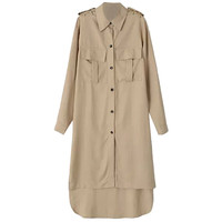 Long Cuff Sleeve Button Down Long Back Trench Coat