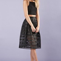 Pleated Shadow Stripe Skirt