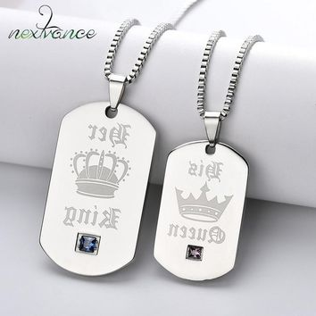 Nextvance Crown Tag pendant Necklace Her King His Queen Couple Necklace for Lovers Valentines Day Gift Military Army Jewelry